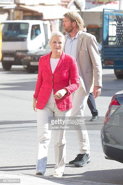 Crown Princess MetteMarit of Norway on the second day of their visit to Jordan Visit a Syrian Refugee Family living in Amman at on October 22 2014 in...