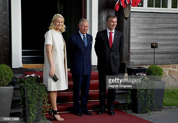 Crown Princess MetteMarit of Norway Prince Charles Prince of Wales and Prime Minister Jens Stoltenberg of Norway attend a dinner with heads of State...