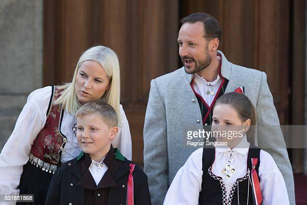 Crown Princess MetteMarit of Norway Prince Sverre Magnus of Norway Princess Ingrid Alexandra of Norway and Crown Prince Haakon of Norway celebrate...
