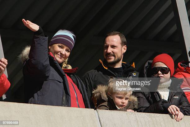 Crown Princess MetteMarit Of Norway Prince Sverre Magnus of Norway Crown Prince Haakon Magnus and Marius Borg Hoeiby attend The World Cup Ski Jumping...