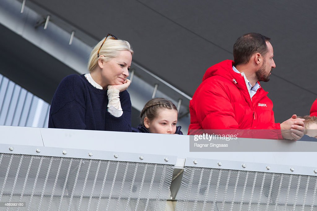 <a gi-track='captionPersonalityLinkClicked' href=/galleries/search?phrase=Crown+Princess+Mette-Marit&family=editorial&specificpeople=171288 ng-click='$event.stopPropagation()'>Crown Princess Mette-Marit</a> of Norway, <a gi-track='captionPersonalityLinkClicked' href=/galleries/search?phrase=Princess+Ingrid+Alexandra&family=editorial&specificpeople=243087 ng-click='$event.stopPropagation()'>Princess Ingrid Alexandra</a> of Norway and <a gi-track='captionPersonalityLinkClicked' href=/galleries/search?phrase=Crown+Prince+Haakon+of+Norway&family=editorial&specificpeople=158362 ng-click='$event.stopPropagation()'>Crown Prince Haakon of Norway</a> attend the FIS Nordic World Cup on March 15, 2015 in Oslo, Norway.