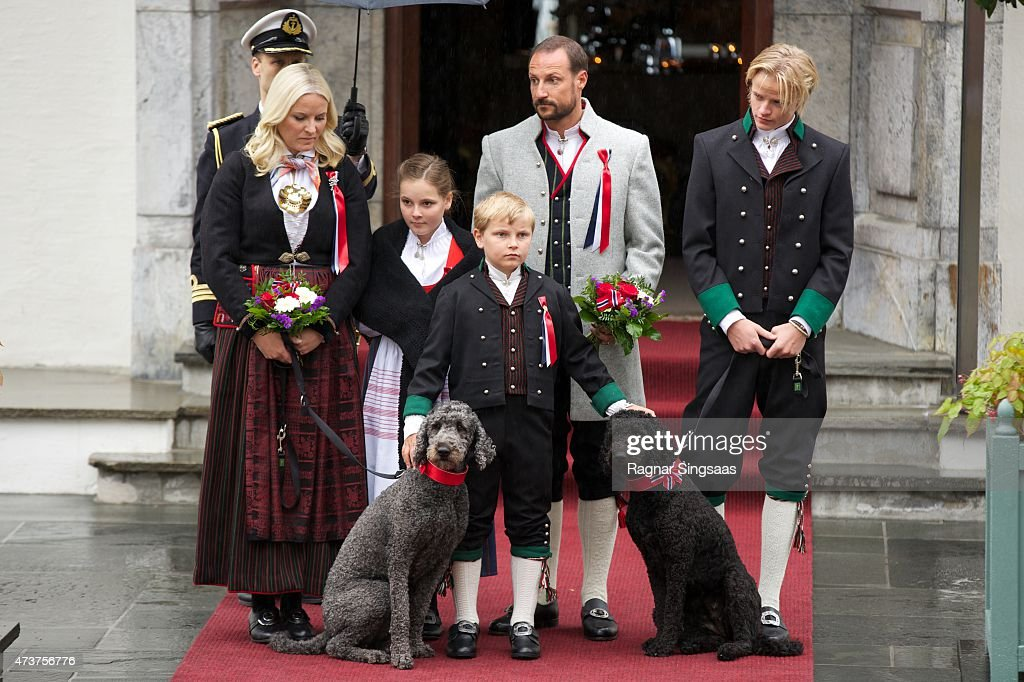 Crown Princess Mette-Marit of Norway, Princess Ingrid Alexandra of Norway, Prince Sverre Magnus of Norway, Crown Prince Haakon of Norway and Marius Borg Hoiby Celebrate National Day on May 17, 2015 in Asker, Norway.