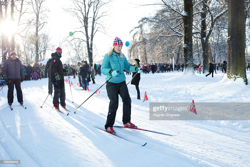 Crown Princess Mette-Marit of Norway seen skiing outside the Palace Square while celebrating the 25th anniversary of King Harald V and Queen Sonja of Norway as monarchs on January 17, 2016 in Oslo, Norway.