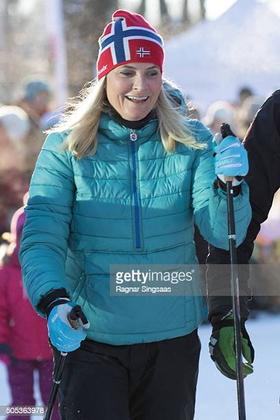Crown Princess MetteMarit of Norway seen skiing outside the Royal Palace while celebrating the 25th anniversary of King Harald V and Queen Sonja of...