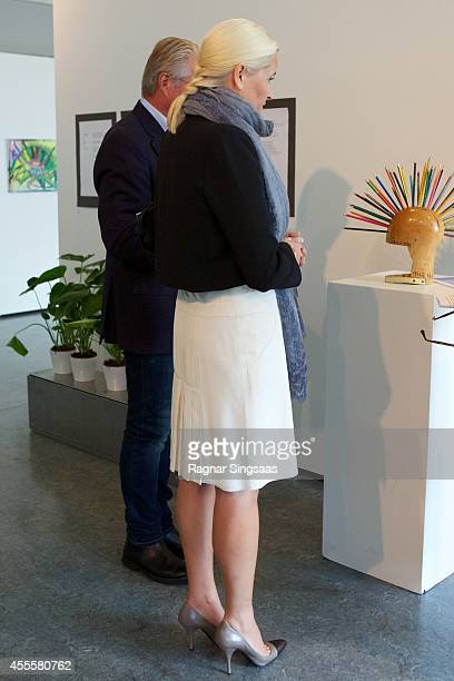 Crown Princess MetteMarit of Norway visits the exhibition 'Kaleidoscope' in Oslo Town Hall on September 17 2014 in Oslo Norway