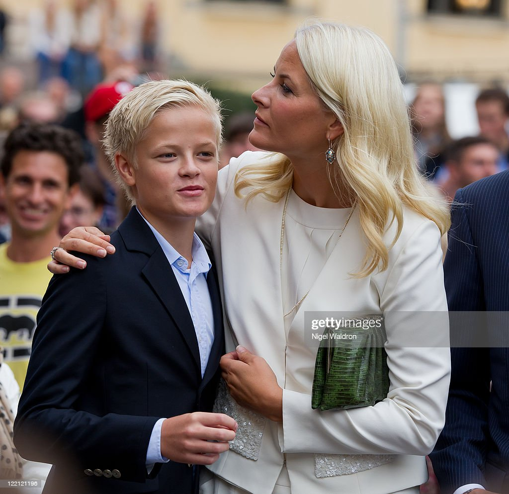 Crown Princess Mette-Marit of Norway with her son Marius Borg Hoiby attend a celebration on the occasion of the Crown Prince Haakon and Crown Princess Mette-Marit of Norway's 10th wedding anniversary at the university square on August 25, 2011 in Oslo, Norway.