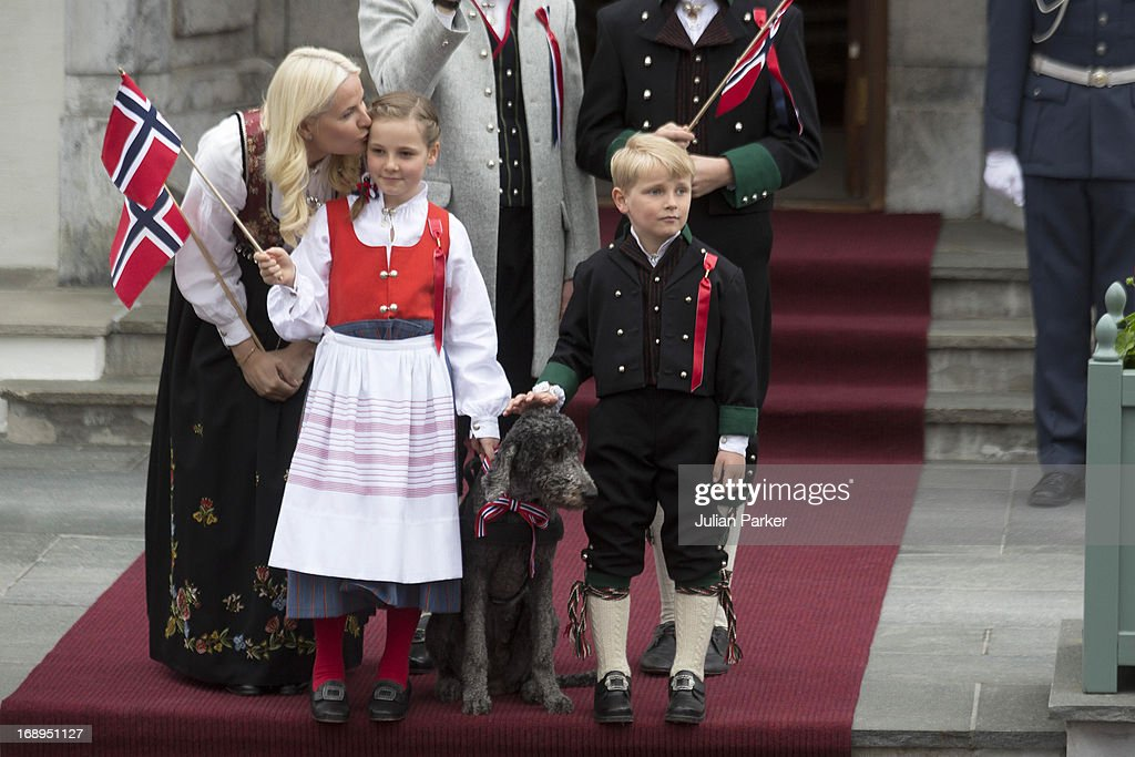 Crown Princess Mette-Marit of Norway, with Princess Ingrid Alexandra, and Prince Sverre Magnus, and Family Dog, Milly Kakao, celebrate Norway National Day at The Crown Prince couples residence, Skaugum, in Asker, near Oslo on May 17, 2013 in Asker, Norway.