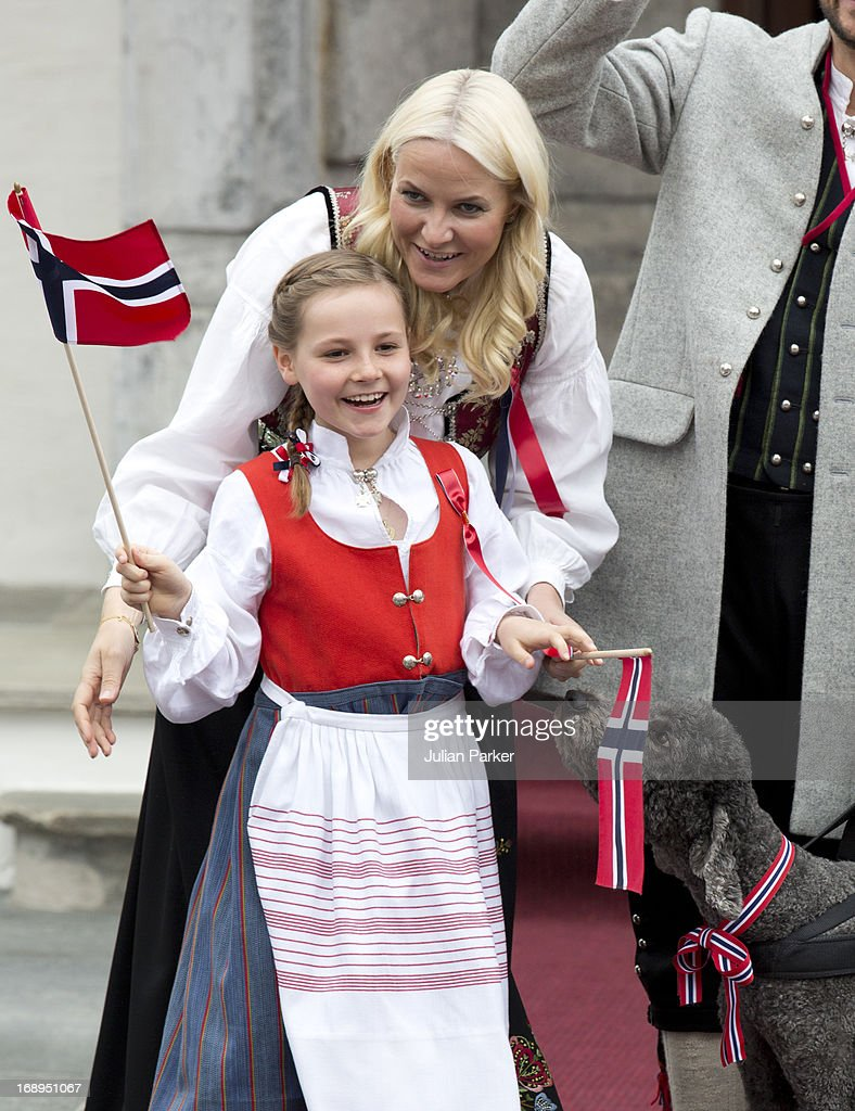 Crown Princess Mette-Marit of Norway, with Princess Ingrid Alexandra,and Family Dog, Milly Kakao, celebrate Norway National Day at The Crown Prince couples residence, Skaugum, in Asker, near Oslo on May 17, 2013 in Asker, Norway.