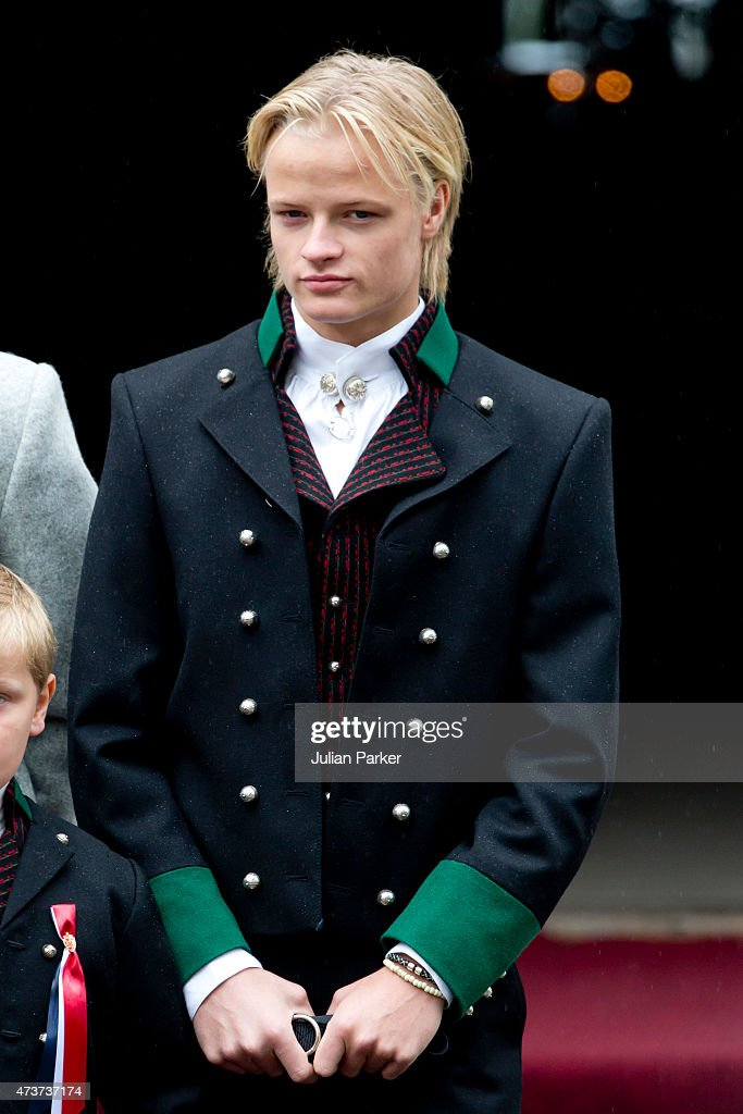Crown Princess Mette-Marit of Norway's son, Marius Borg Hoiby attends the traditional morning children's parade, at their home, Skaugum, in Asker, near Oslo, on Norway's National Day, on May 17, 2015 in Oslo, Norway.