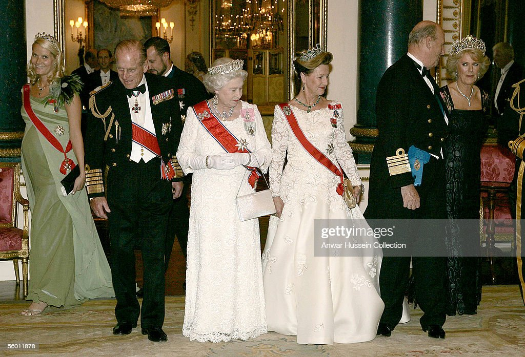Crown Princess Mette-Marit, Prince Philip, Duke of Edinburgh, Crown Prince Haakon, Queen Elizabeth ll, Queen Sonja, King Harald V of Norway and Camilla, Duchess of Cornwall pose before the banquet for the Norwegian Royal Family at Buckingham Palace on October 25, 2005 in London, England. The visit is to mark 100 years of Norway's independence from Sweden.