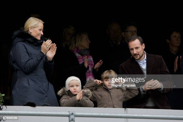 Crown Princess MetteMarit Prince Sverre Magnus Princess Ingrid Alexandra and Crown Prince Haakon Magnus attend the Molde v Aalesund Norwegian...