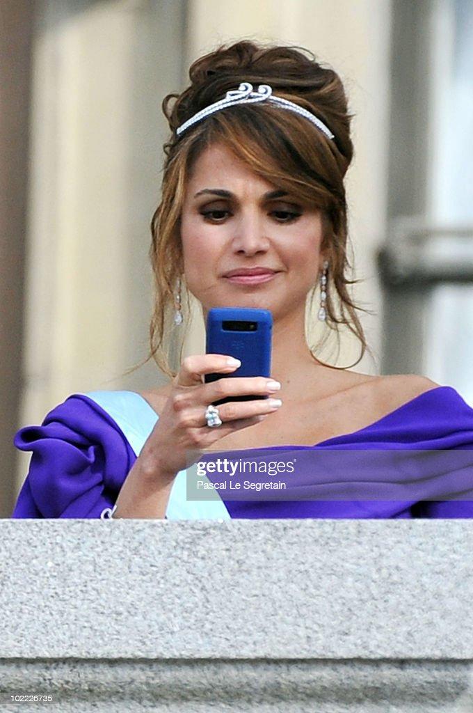 Crown Princess Rania of Jordan appears on the Lejonbacken Terrace after their wedding ceremony on June 19, 2010 in Stockholm, Sweden.