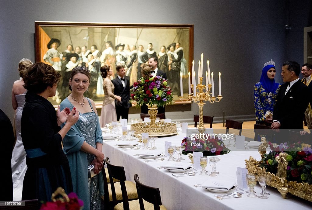 Crown Princess Stephanie of Luxembourg (2nd L) attends a dinner hosted by Queen Beatrix of The Netherlands ahead of her abdication at Rijksmuseum on April 29, 2013 in Amsterdam, Netherlands.
