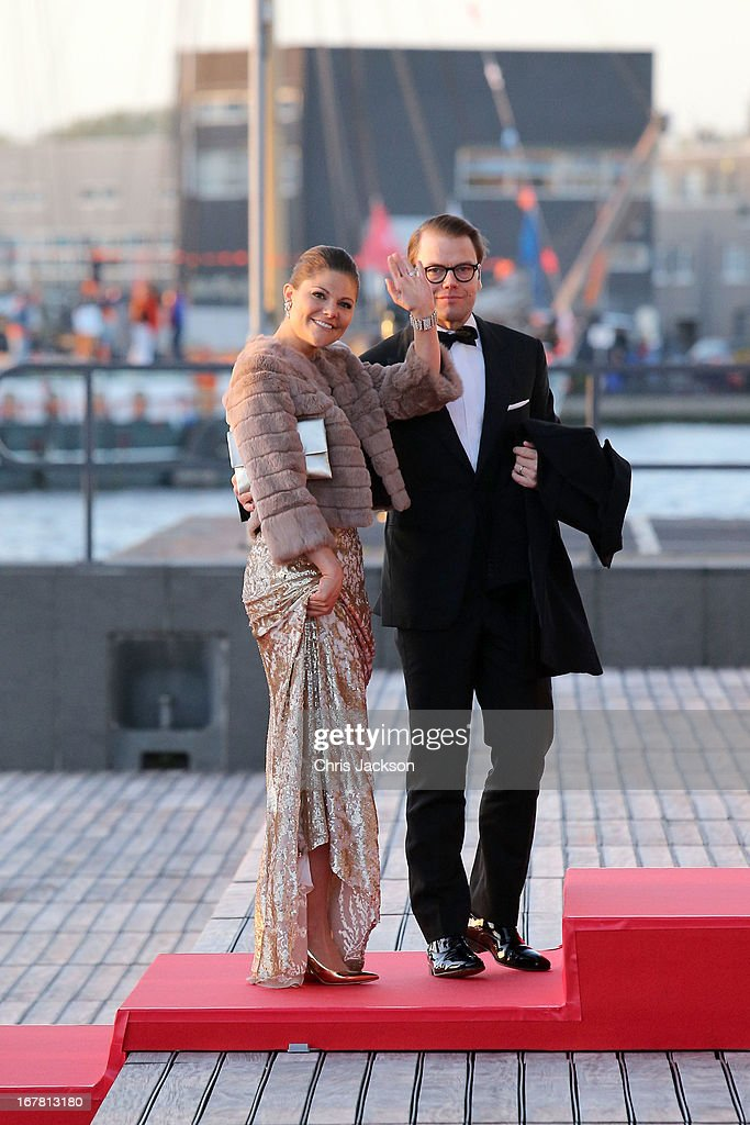 Crown Princess Victoria and Crown Prince Daniel of Sweden arrive at the Muziekbouw following the water pageant after the abdication of Queen Beatrix of the Netherlands and the Inauguration of King Willem Alexander of the Netherlands on April 30, 2013 in Amsterdam, Netherlands.