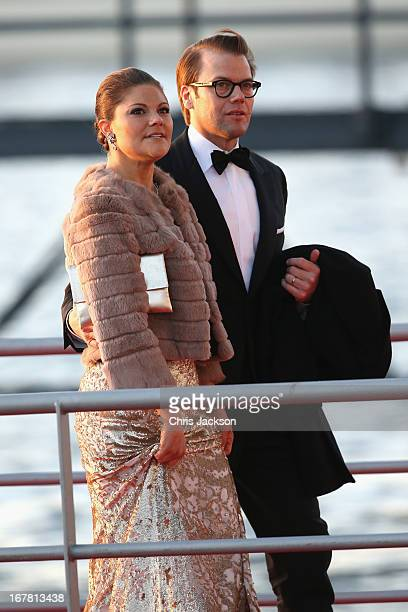 Crown Princess Victoria and Crown Prince Daniel of Sweden arrive at the Muziekbouw following the water pageant after the abdication of Queen Beatrix...