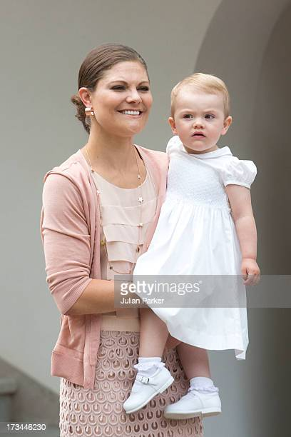 Crown Princess Victoria and her daughter Princess Estelle of Sweden attend the Victoria Day celebrations on the Crown Princess's 36th Birthday at...