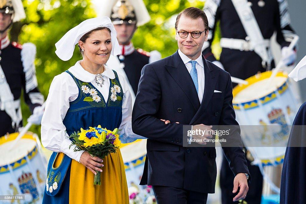 Crown Princess Victoria and Prince Daniel of Sweden arrive at a ceremony celebrating Sweden's national day at Skansen on June 6, 2015 in Stockholm, Sweden.
