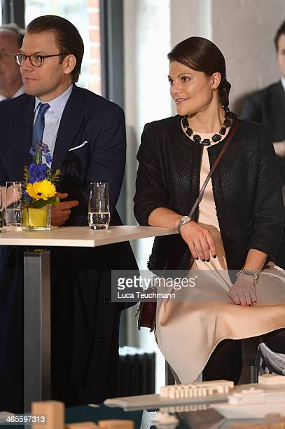 Crown Princess Victoria And Prince Daniel Of Sweden arrive for a visit of the HafenCity at Infocenter Kesselhaus on January 28 2014 in Hamburg Germany