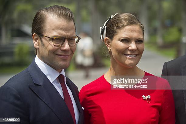 Crown Princess Victoria and Prince Daniel of Sweden arrive for the opening of a seminar at the Universidad de Lima in Lima on October 19 2015...