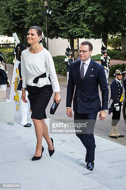 Crown Princess Victoria and Prince Daniel of Sweden attend a ceremony at Riksdag in connection with the opening session of the Swedish parliament on...