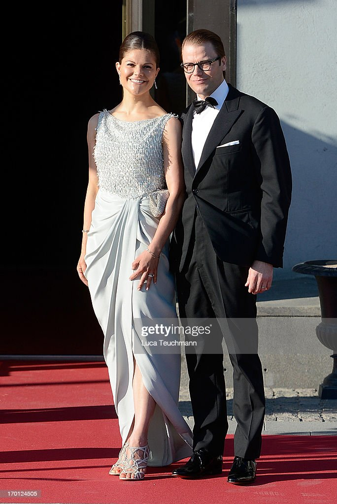Crown Princess Victoria and Prince Daniel of Sweden attend a private dinner on the eve of the wedding of Princess Madeleine and Christopher O'Neill hosted by King Carl Gustaf and Queen Silvia at The Grand Hotel on June 7, 2013 in Stockholm, Sweden.