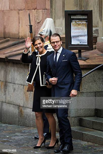 Crown Princess Victoria and Prince Daniel of Sweden depart after attending service at the Church of St Nicholas in connection with the opening of the...