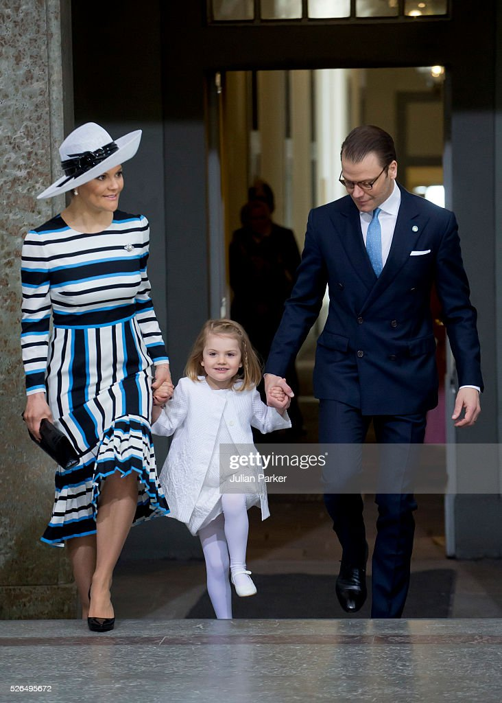 Crown Princess Victoria, and Prince Daniel of Sweden with their daughter Princess Estelle of Sweden arrive for the Te Deum Thanksgiving Service, at The Royal Palace, Stockholm, on the occasion of King Carl Gustaf of Sweden's 70th Birthday,on April 30, 2016, in Stockholm, Sweden.