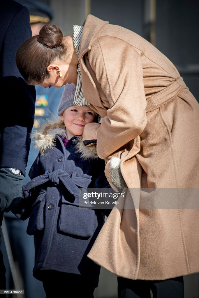 Crown Princess Victoria and Princess Estelle celebrate the nameday ceremony of the Crown Princess at the inner square of the Royal Palace on March 12, 2017 in Stockholm, Sweden.