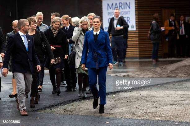 Crown Princess Victoria arrives to the inauguration of the Marine Pedagogical Learning Center on October 11 2017 in Malmo Sweden Before this she...