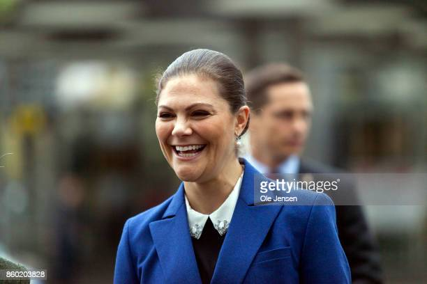 Crown Princess Victoria arrives to the Life Below Water UN Conference on October 11 2017 in Malmo Sweden The 'Life Below Water purpose is to promote...