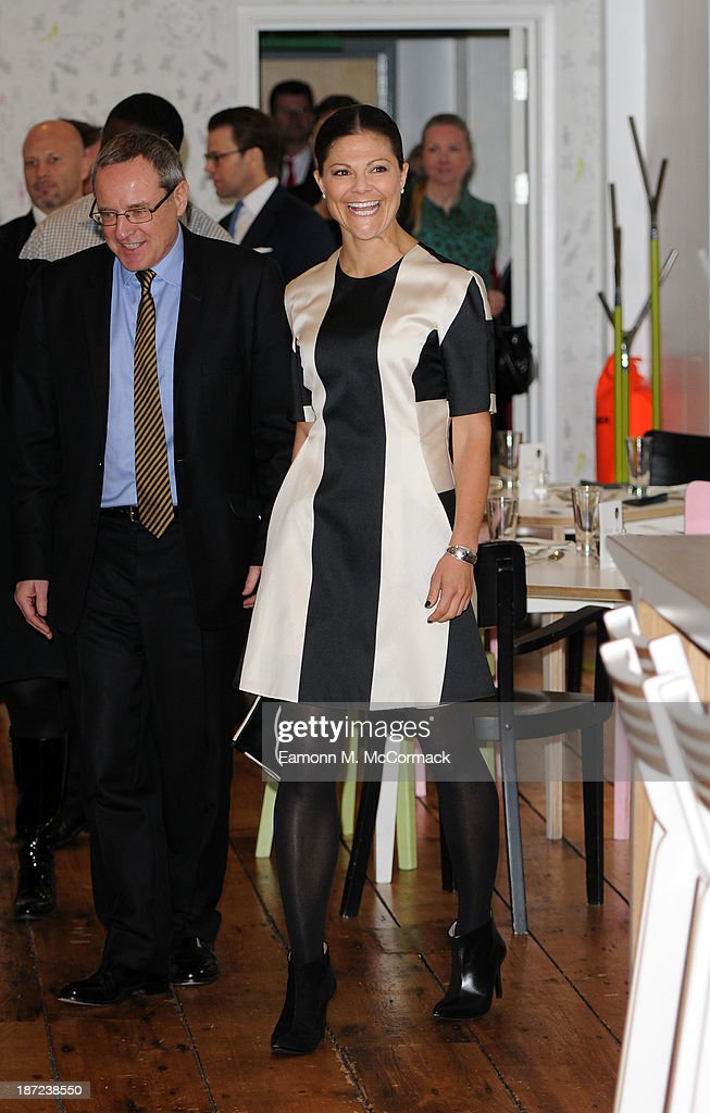 Crown Princess Victoria at Hackney Community College during an official visit to London on November 7, 2013 in London, England.