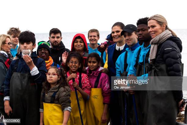 Crown Princess Victoria at the pier outside the Marine Pedagogical Learning Center where she met students who study the marine activities in Oeresund...