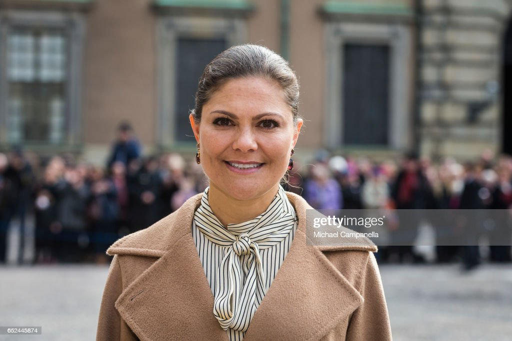 Crown Princess Victoria attends a name day celebration for Princess Victoria at the Royal Palace on March 12, 2017 in Stockholm, Sweden.