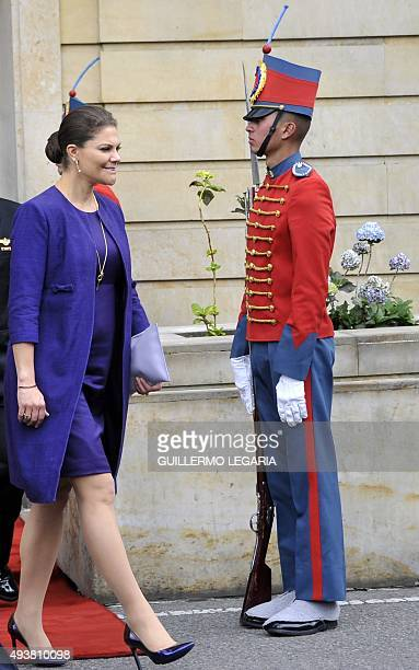 Crown Princess Victoria leaves the Narino presidential palace after a private meeting with Colombia's President Juan Manuel Santos on October 22 2015...