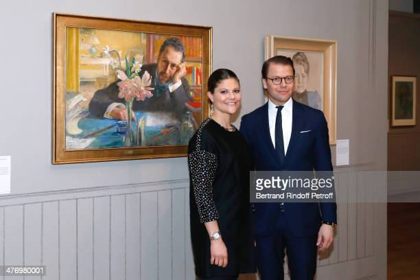 Crown Princess Victoria of Suede and her husband Duke of Vastergotland Daniel Westling posing near portrait of the poet Oscar Levertin as they open...