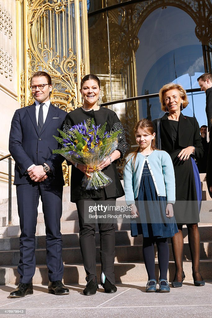 Crown Princess Victoria of Suede, her husband Duke of Vastergotland <a gi-track='captionPersonalityLinkClicked' href=/galleries/search?phrase=Daniel+Westling&family=editorial&specificpeople=662631 ng-click='$event.stopPropagation()'>Daniel Westling</a>, Guest and Guest representing the city of Paris for 'Petit Palais' attend the opening of the Contemporary Artist Carl Larsson exhibition at 'Petit Palais' on March 6, 2014 in Paris, France.