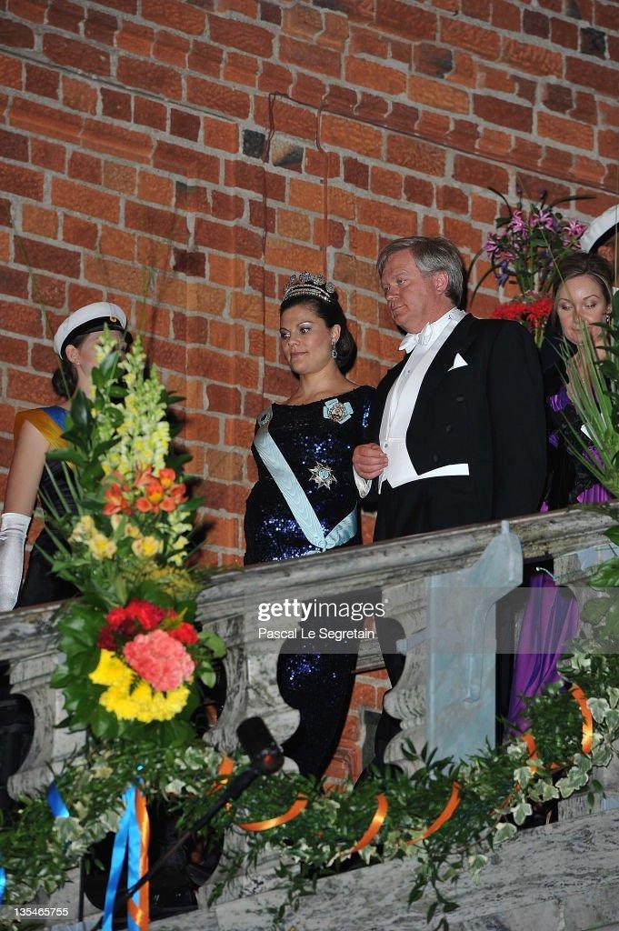 Crown Princess Victoria of Sweden and Australian Nobel Prize for Physics laureate Brian Schmidt arrive for the Nobel Prize Banquet at Stockholm City...