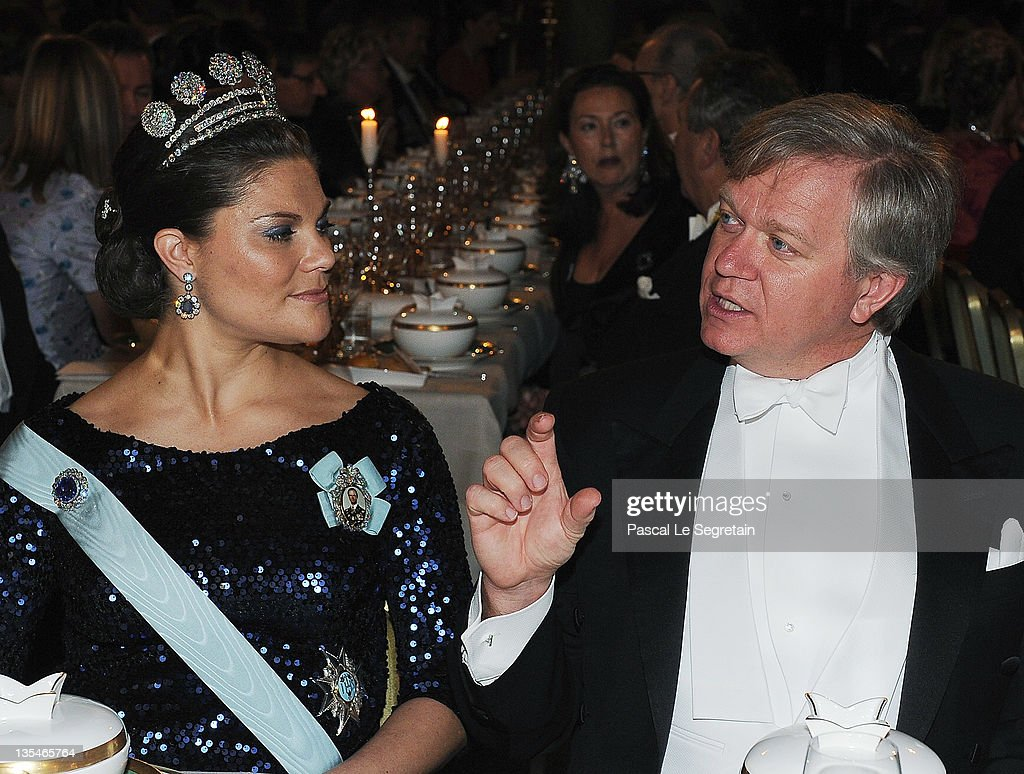 Crown Princess Victoria of Sweden and Australian Nobel Prize for Physics laureate Brian Schmidt attend for the Nobel Prize Banquet at Stockholm City...