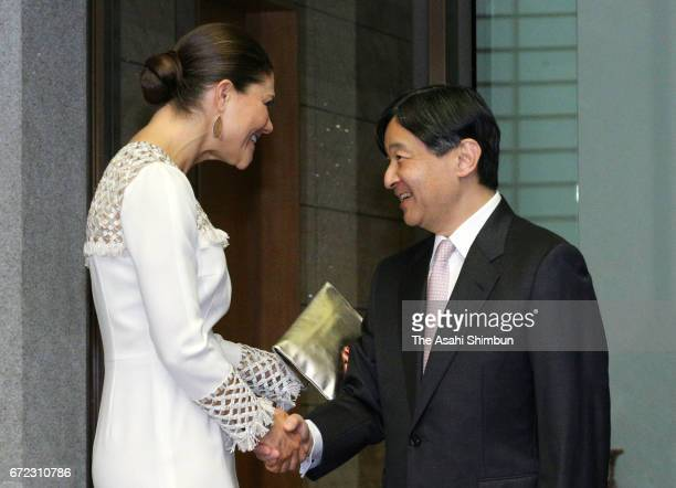 Crown Princess Victoria Of Sweden and Crown Prince Naruhito of Japan shake hands prioir to their meeting at Togu Palace on April 21 2017 in Tokyo...