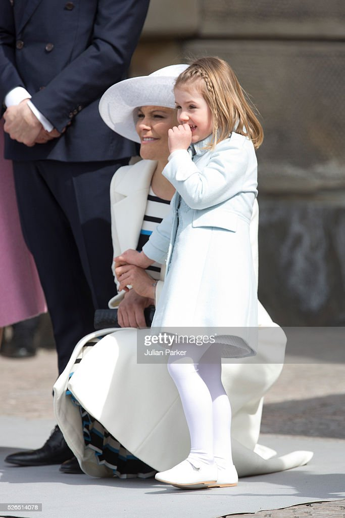 Crown Princess Victoria of Sweden and her daughter Princess Estelle attend The Swedish Armed Forces Celebration, in the Outer Courtyard at The Royal Palace in Stockholm on the occasion of King Carl Gustaf of Sweden's 70th Birthday, on April 30, 2016, in Stockholm, Sweden.
