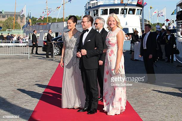 Crown Princess Victoria of Sweden and her husband Daniel Duke of Vastergotland Crown Princess Mette Marit of Norway Ari Behn arrive for the private...