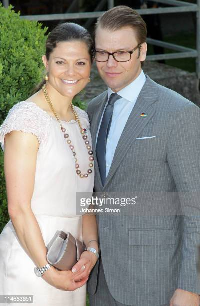 Crown Princess Victoria of Sweden and her husband Prince Daniel Duke of Vastergotland attend Blutenburg Castle on May 25 2011 in Munich Germany