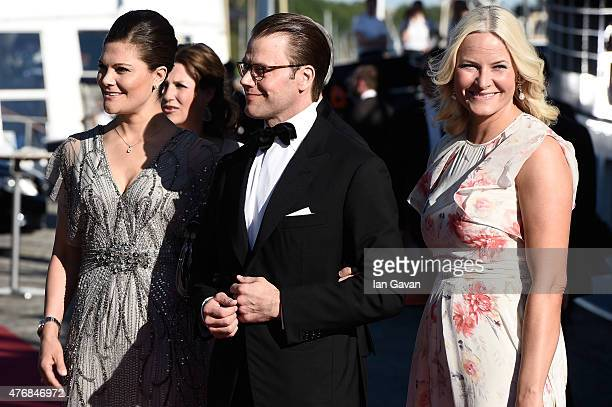 Crown Princess Victoria of Sweden and her husband Prince Daniel of Sweden and Princess MetteMarit of Norway arrive for the PreWedding Dinner for...
