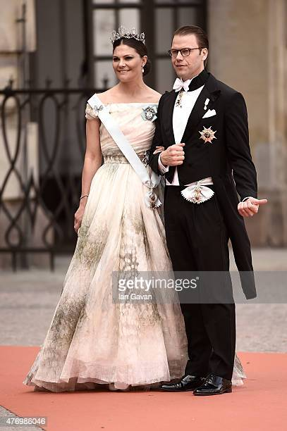 Crown Princess Victoria of Sweden and her husband Prince Daniel of Sweden attend the royal wedding of Prince Carl Philip of Sweden and Sofia...