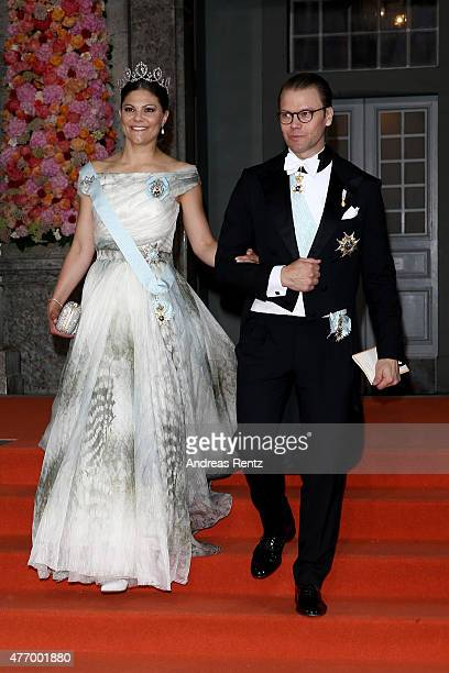 Crown Princess Victoria of Sweden and her husband Prince Daniel of Sweden depart after the royal wedding of Prince Carl Philip of Sweden and Sofia...