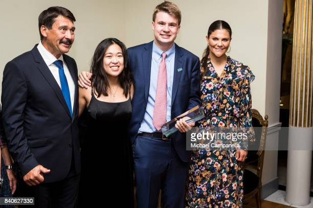 Crown Princess Victoria of Sweden and Hungarian president Janos Ader pose for a picture the winners of Stockholm Junior Water Prize Ryan Thorpe and...