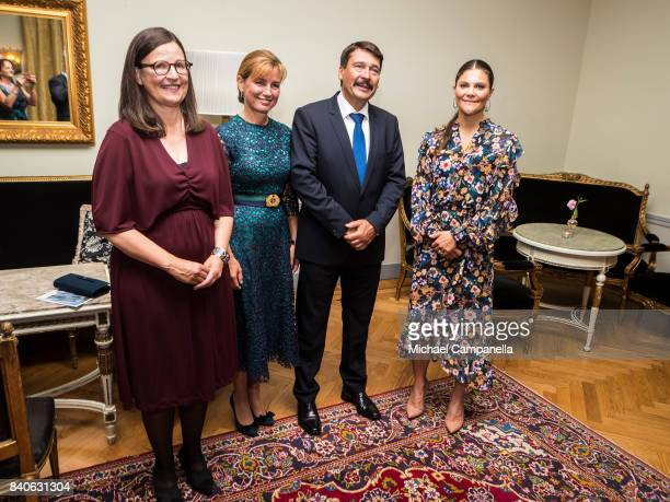 Crown Princess Victoria of Sweden and Hungarian president Janos Ader pose for a picture after a ceremony for the Stockholm Junior Water Prize at...