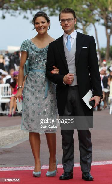 Crown Princess Victoria of Sweden and husband Prince Daniel Duke of Vastergotland attend the religious ceremony of the Royal Wedding of Prince Albert...