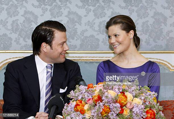 Crown Princess Victoria of Sweden and Mr Daniel Westling announce their engagement during a press conference at The Royal Palace on February 24 2009...