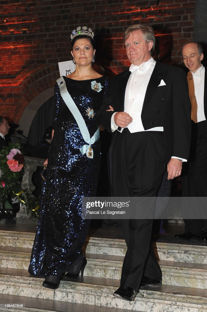 Crown Princess Victoria of Sweden and Nobel Laureate in Physics Brian Schmidt attend the Nobel Banquet at the City Hall on December 10 2011 in...